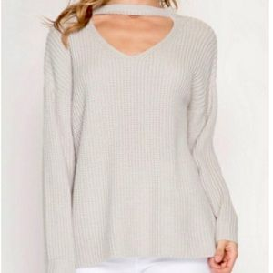 Stone Choker Neck Detail Pullover Sweater